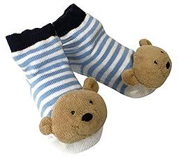 Mud Pie Baby-Boys Newborn Bear Rattle Socks, Blue, 0-12 Months