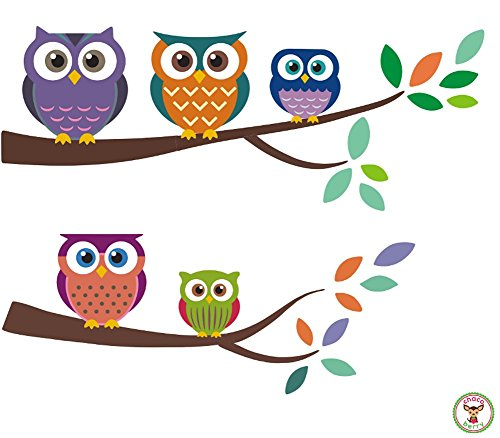 Owl Wall Fabric Decals - High Quality Fabric Kids Baby Nursery Room Wall Stickers - Sticks to Any Surface, Peels Off Clean, Reusable, Easy to Install