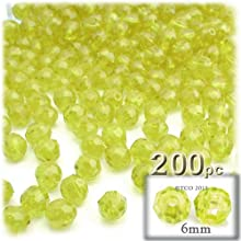 The Crafts Outlet 200-Piece Faceted Plastic Transparent Round Beads 6mm Yellow
