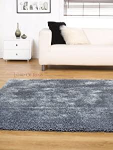 """Soft Heavy Thick Large Shaggy Rug Silver Grey in 120 x 170 cm (3'11"""" x 5'7"""") Carpet by Lord of Rugs"""