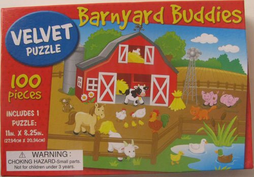 Barnyard Buddies Velvet Puzzle 100 Pieces - 1