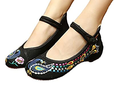 AvaCostume Chinese Traditional Phoenix Pattern Womens Embroidered Walking Shoes