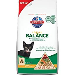 Hill\'s Science Diet Ideal Balance Feline Kitten Chicken and Brown Rice Dinner Dry Cat Food Bag, 6-Pound