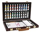 Darice 1103-084 Studio 71, 34 Piece Watercolor Painting Set, Wood Box Art Set