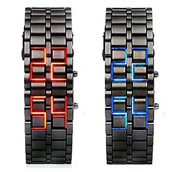 WPOS® Men/Woman Lava Black Stainless Steel Lava RED LED Digital Bracelet Watch, Model: , Electronics & Accessories Store by WPOS