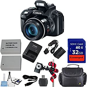 Canon PowerShot SX50 HS 12.1 MP Digital Camera with 50x Wide-Angle Optical Image Stabilized Zoom + Extra Replacement Battery + Original Canon Accessories + Extremespeed 32GB Commander Memory + Card Reader + Celltime Starter kit with Cleaning Cloth + Spide