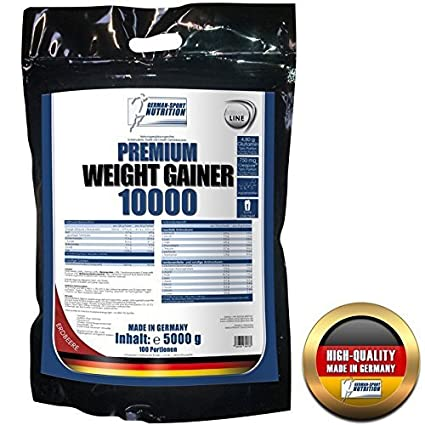 Premium Weight Gainer 10000, 5 Kg Schoko enthält Whey Protein