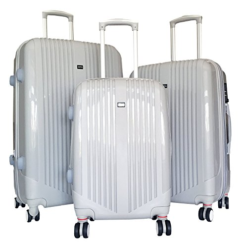 3-Pc-Luggage-Set-Hardside-Rolling-4wheel-Spinner-Upright-Carryon-Travel-ABS-Gray