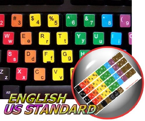 Learning English Colored Keyboard Stickers (Lower & Upper Case) For Desktop, Laptop And Notebook