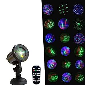 Motion Pattern Firefly 3 Models in 1 Continuous 18 Patterns LEDMALL RGB Outdoor Laser Garden and Christmas Lights with RF Remote Control and Security kit (Color: black, Alumimum)
