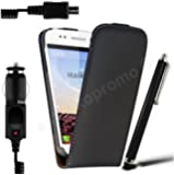 ***PACK COQUE WIKO STAIRWAY ***Housse Etui Cuir noir + STYLET+ Chargeur Voiture Allume Cigare ***