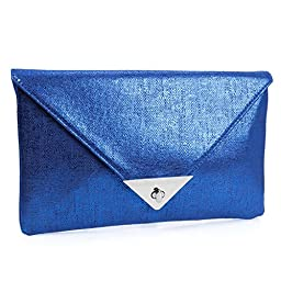 BMC Womens Shiny Sapphire Blue Sheen PU Synthetic Material Envelope Flap Clutch Fashion Handbag