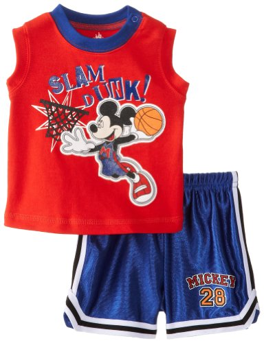 Disney Baby Baby-Boys Newborn Basketball Mickey Mouse 2 Piece Tank And Short Set, High Risk Red/Mazarine Blue, 3-6 Months front-910752