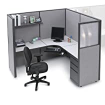 Pewter Haze Complete Cubicle with LWorkstation and Box/Box/File Pedestal Pewter Haze/Charcoal/Silvercast