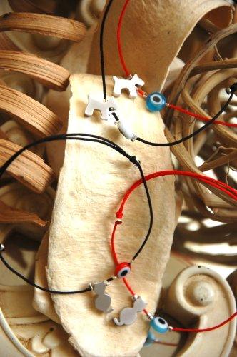 SoChic Naz Rhodium Plated Dog or Cat Red String Evil Eye Bracelet