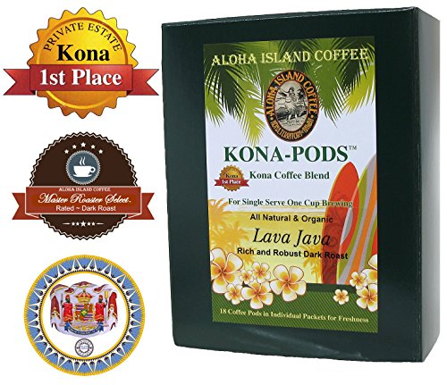 Senseo Pods of Kona Coffee Blend, Lava Java Dark Roast Coffee Pods for All Senseo-type Pod Brewers, 18 Pods, Reusable Adapter Available for K-cup Brewing