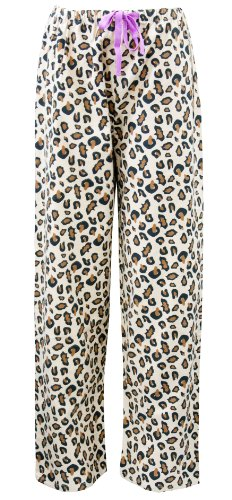 Leisureland Women's Cotton Flannel Pajama Sleepwear Lounge Pants Leopard Khaki Large