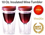 Vino2Go 10 Ounce Insulated Wine Tumbler with Merlot Red Drink Through Lid, Set of 2