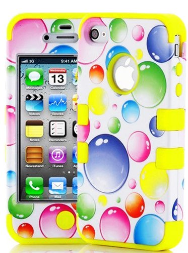 Mylife (Tm) Yellow - Colorful Bubbles Series (3 Piece Protective) Hard And Soft Case For The Iphone 4/4S (4G) 4Th Generation Touch Phone (Fitted Front And Back Solid Cover Case + Internal Silicone Gel Rubberized Tough Armor Skin + Lifetime Warranty + Seal
