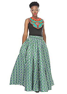 African Planet Women's Geometric Cotton Wax Skirt Inspired Elastic Waist Maxi