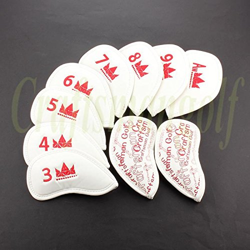 Craftsman Golf High Quality 10 Pcs Red Crown With Dot White Pu Leather Golf Iron Head Cover Headcover For Titleist Taylomade Callaway Ping Mizuno All Brand front-495119