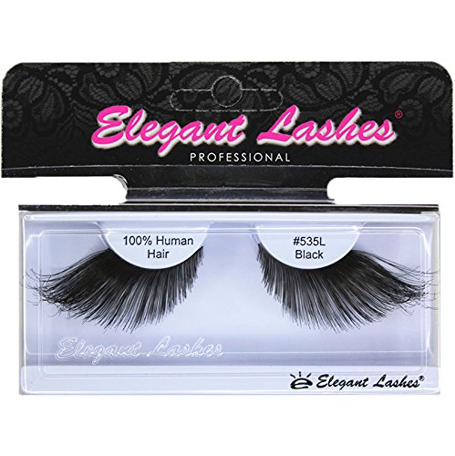 Elegant Lashes #535L Thick Long Black Human Hair False Eyelashes for Drag Queen Halloween Dance Costume (Super Long Eyelashes compare prices)