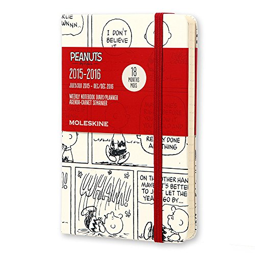 Moleskine 2015-2016 Peanuts Limited Edition Weekly Notebook, 18M, Pocket, White, Hard Cover (3.5 x 5.5)