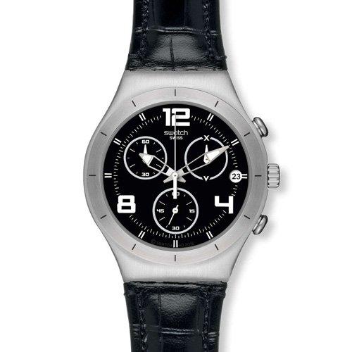 Swatch Men's Irony YCS569 Black Leather Swiss Quartz Watch with Black Dial