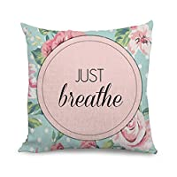 wendana Vintage Flower and letters-just breath Throw Pillow Covers Accent Pillows Cushion Covers 18 x 18 inches