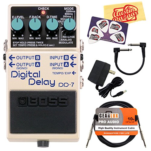 Boss DD-7 Digital Delay Guitar Effects Pedal Bundle with 9V Power Adapter, Gearlux Instrument Cable, Patch Cable, Picks, and Polishing Cloth (Boss Digital Reverb compare prices)