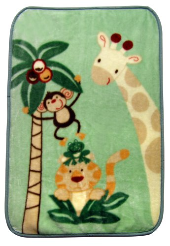 Nojo Jungle Babies Luxury Plush Throw Blanket front-67244