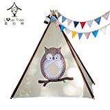 LoveTree® Children Indian Teepee Play-Owl Window Style-Preassemble