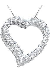 14K Yellow/White Gold 1/4 ct. Diamond Heart Pendant with Chain