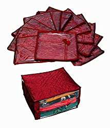 Saree Cover 12 Pcs Set in Maroon Quilted Satin, Extra Large Quilted Satin Saree Cover