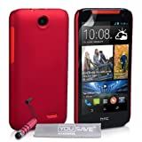 Yousave Accessories HTC Desire 310 Case Red Hard Hybrid Cover With Mini Stylus Pen