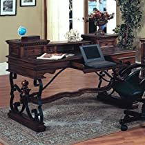"Hot Sale Barcelona Writing Desk (Dark Red Walnut, Black) (37.75""H x 60""W x 30""D)"