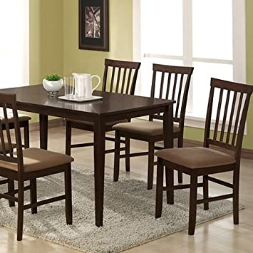 Tiffany 5-Piece Dining Set - Cappuccino Finish, Slat Back Chairs by Wholesale Interiors