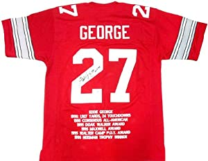 Eddie George Autographed Signed Ohio State Buckeyes Red Custom NCAA Jersey with H.T....