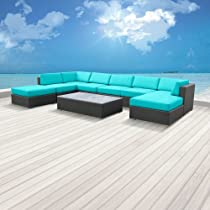 Hot Sale Luxxella Outdoor Patio Wicker MALLINA Sofa Sectional Furniture 9pc All Weather Couch Set TURQUOISE