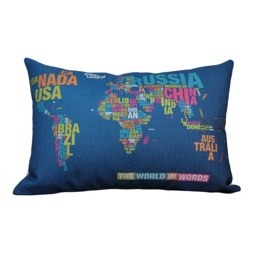 The World Map In Words Print Cushions Decorative Blue Front Face Side Cushion 35X50CM Lumbar Cushions