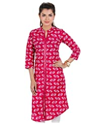 Magenta Casual Cotton Kurta With Closed Collar From ESTYLe