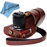 "MegaGear ""Ever Ready"" Protective Dark Brown Leather Camera Case , Bag for Fujifilm X-M1 (XM1, X-a1) Compact System with 16-50mm Lens"