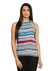 Mayra Women's Rayon Top (1604T08338_S, Blue ,)
