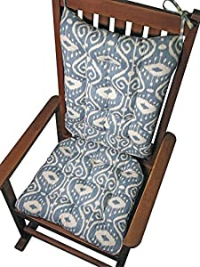 Rocking Chair Cushions Bali Blue Ikat Seat