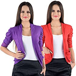Purple & Red Cotton Gathering Sleeve Regular Fit Shrugs (Combo Set of 2)