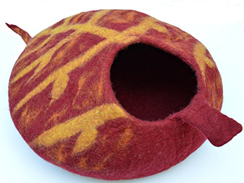 Cat Cave Bed - Handmade Felted Merino Wool House for Cats and Kittens - Original Cat Caves Botanical Series - By Earthtone Solutions (Red)