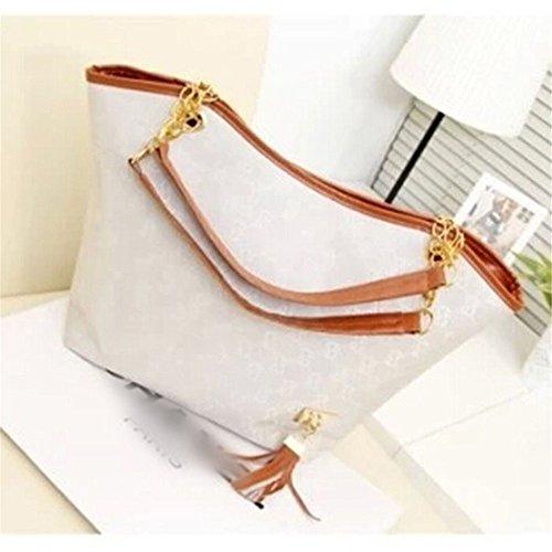 Chic Women'S Hobo Bags Shoulder Bags Handbag Purse Satchel Tote Bag White front-767527