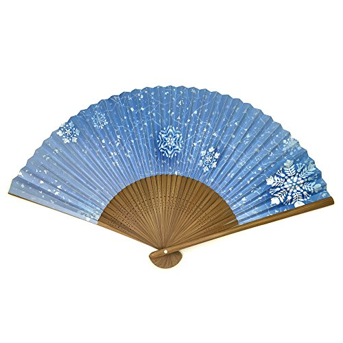 Japanese folding fan / YUKIGESSHO / Snow crystal 8.9inch 35spaces Two-sided printing (Sensu Folding Fan compare prices)