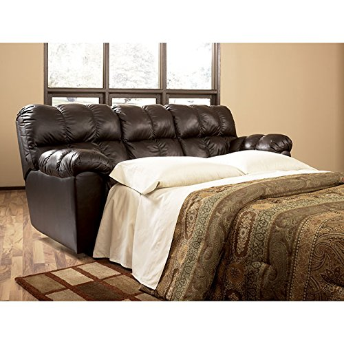 Chocolate Brown Leather Sofa Full Sleeper Couch front-650375