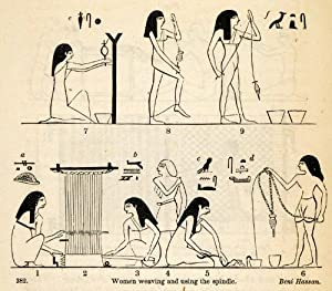 Ancient egypt women spindle weaving loom archaeology hieroglyphics